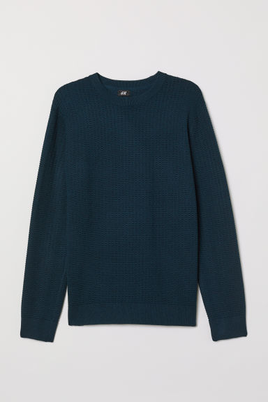 Textured-knit jumper - Dark blue marl - Men | H&M CN