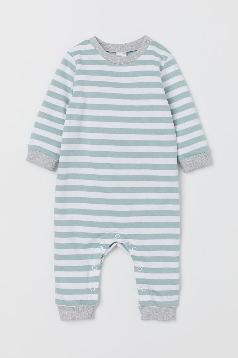 Cotton Overall - Light turquoise/white striped - Kids | H&M US