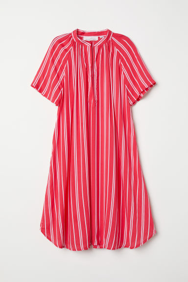 Short-sleeved dress - Red/Striped - Ladies | H&M CN