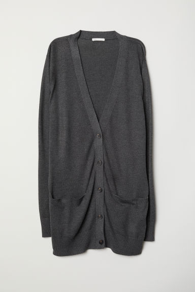 Long cardigan - Dark grey -  | H&M