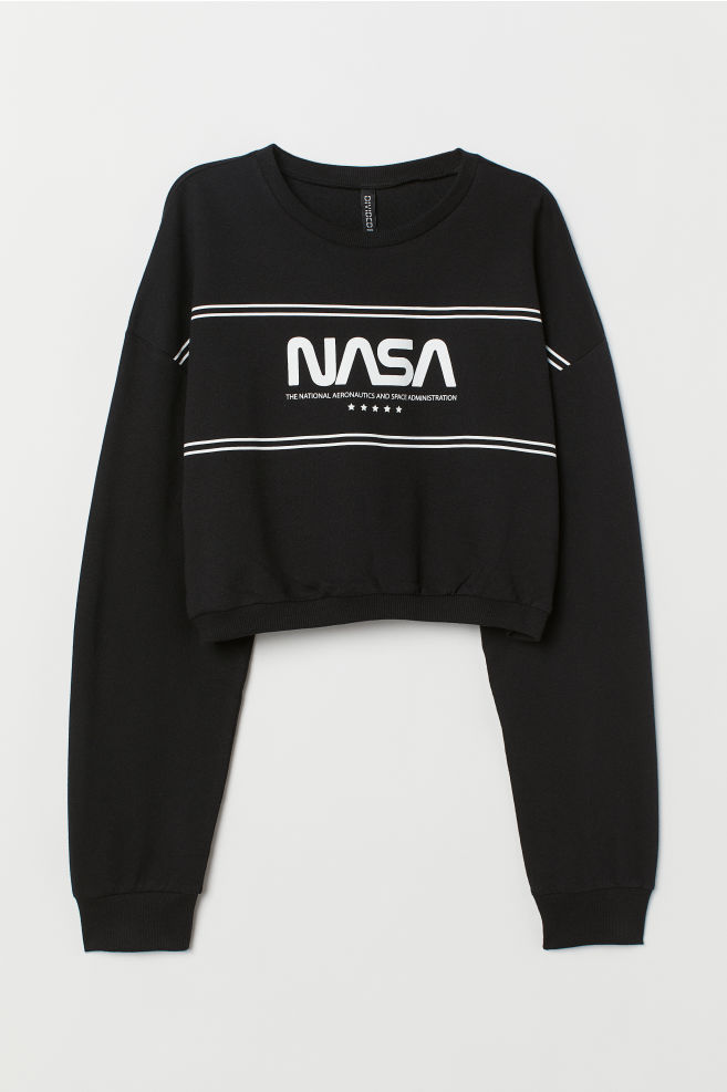 cd60e184097e05 ... Short Printed Sweatshirt - Black NASA - Ladies