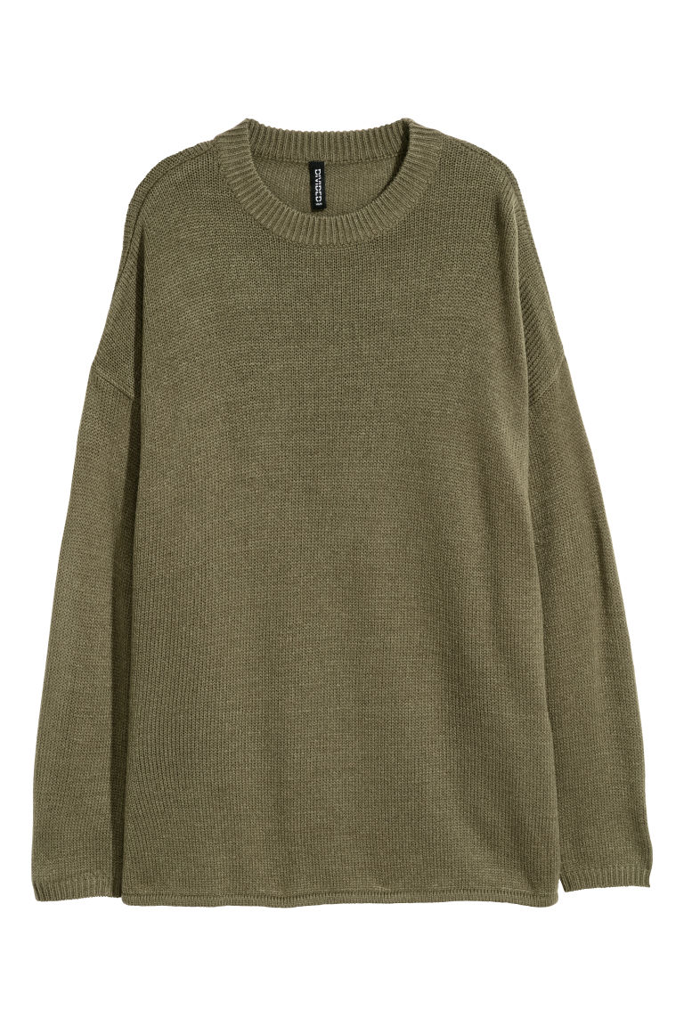 Knitted jumper - Khaki green -  | H&M CN