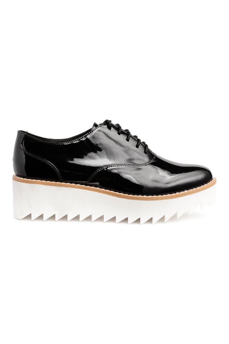 Patent platform shoes - Black/White -  | H&M CN