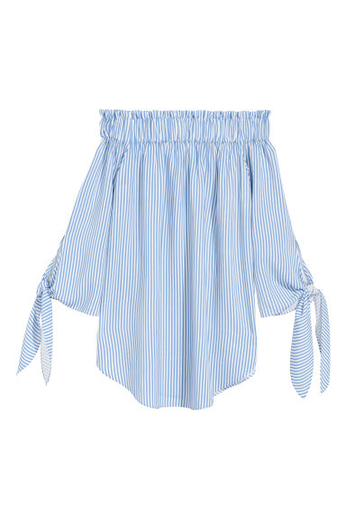Off-the-shoulder top - White/Blue striped -  | H&M