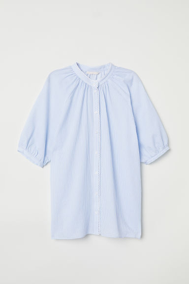 Stand-up collar cotton blouse - Light blue/White striped - Ladies | H&M