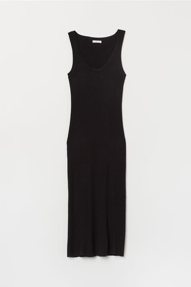 b986081e6e2 Ribbed dress - Black - Ladies