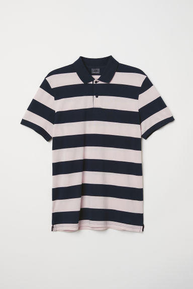 Premium cotton polo shirt - Pink/Blue striped - Men | H&M
