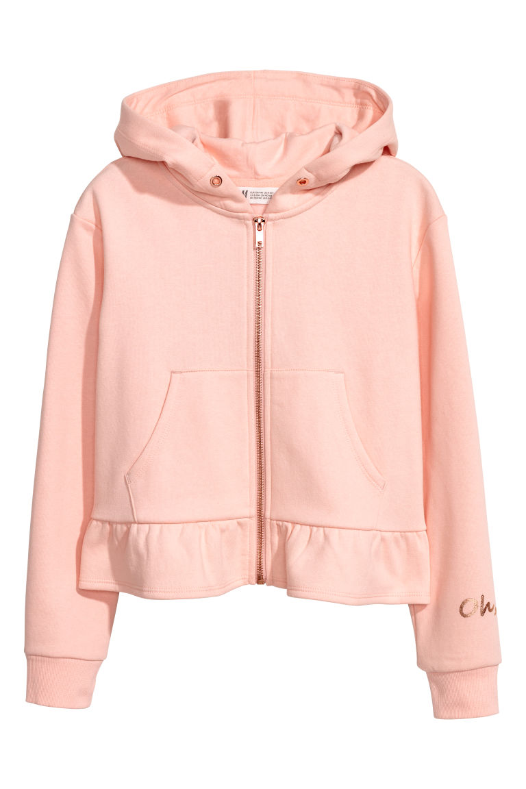 Hooded jacket with a flounce - Light pink/Oh Hey - Kids | H&M