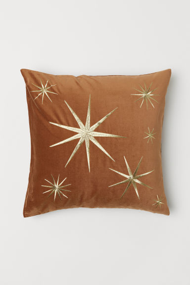 Cotton Velvet Cushion Cover - Camel/gold-colored star - Home All | H&M US