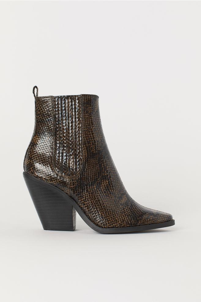db3f5c4320 Snakeskin-pattern Ankle Boots - Brown/snakeskin-patterned - Ladies | H&M US