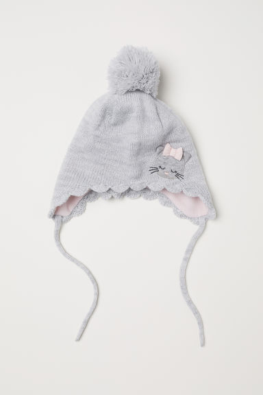 Earflap hat with a pompom - Grey marl - Kids | H&M