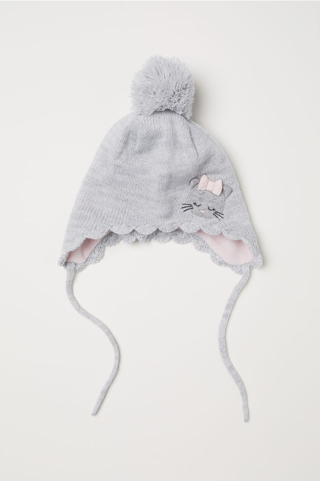6d074ca1283a1c Earflap hat with a pompom - Grey marl - Kids | H&M ...