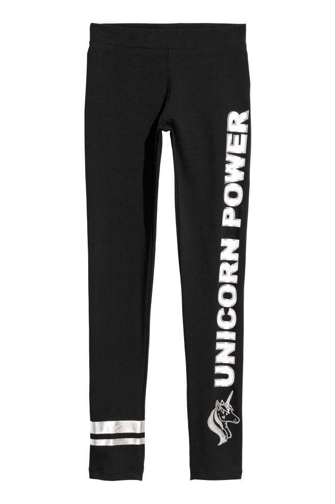 85aa688be22037 Printed jersey leggings - Black/Unicorn Power - Kids | H&M ...