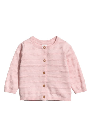 Knitted cotton cardigan - Light pink - Kids | H&M CN