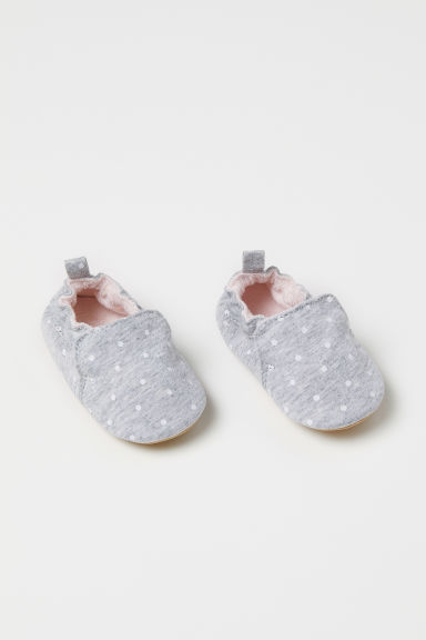 Soft slippers - Light grey/Spotted - Kids | H&M