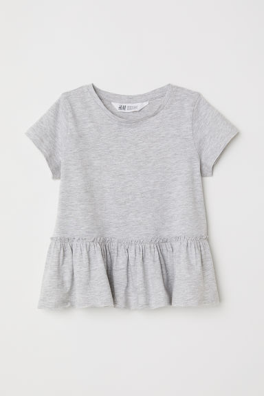 Short-sleeved flounced top - Light grey -  | H&M CN