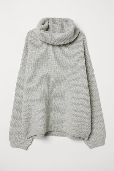 Ribbed Turtleneck Sweater - Light gray melange - Ladies | H&M CA