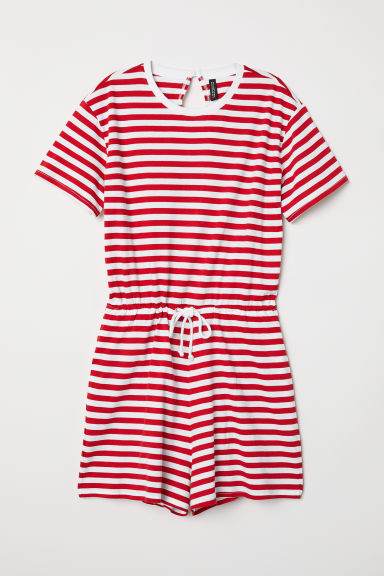 Striped playsuit - Red/White striped - Ladies | H&M