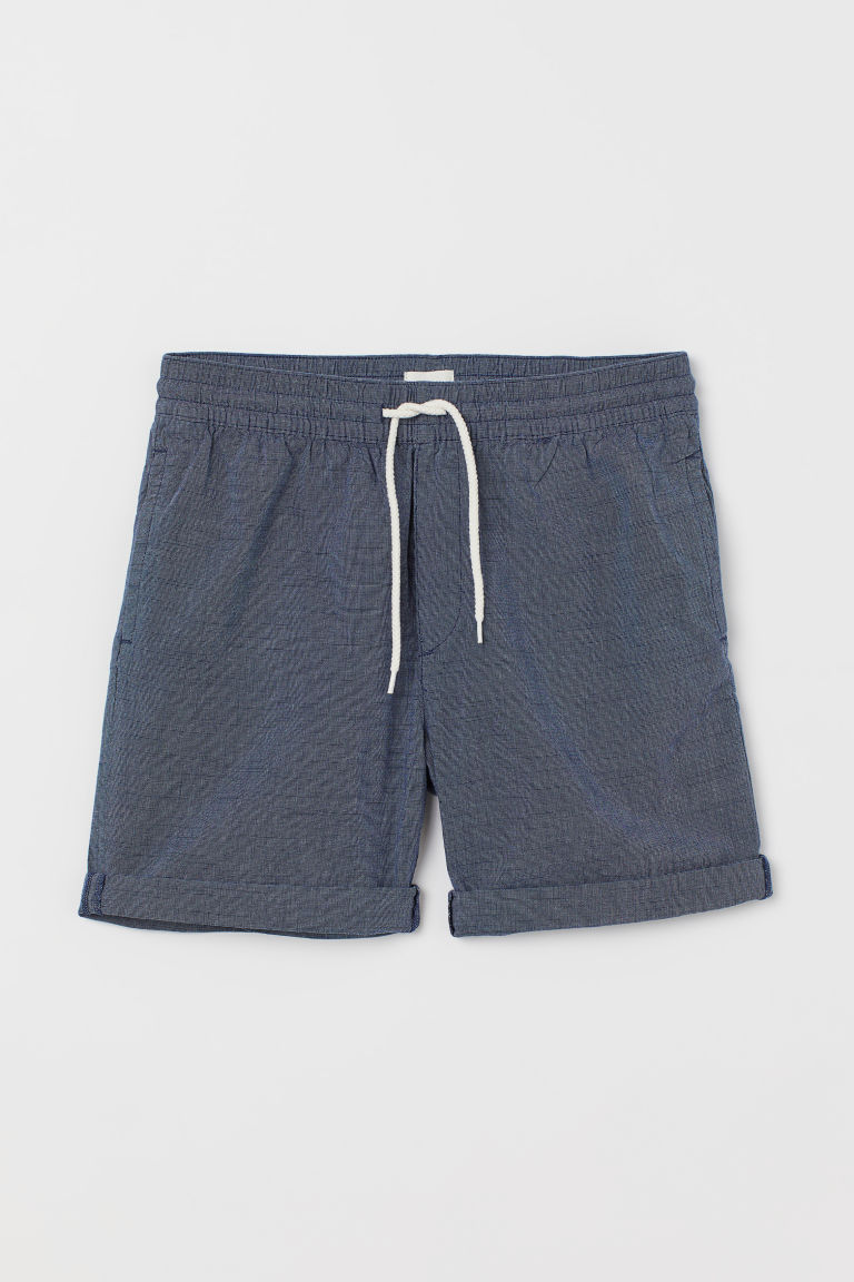 Knee-length cotton shorts - Dark blue/Chambray -  | H&M CN
