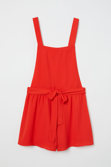 Bib Overall Shorts - Bright red - Ladies | H&M US