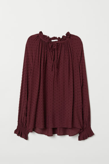 Blouse with smocking - Burgundy/Plumeti - Ladies | H&M CN
