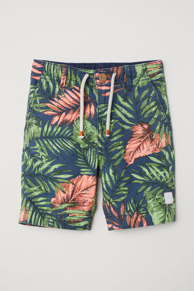 Cotton twill shorts - Dark blue/Jungle - Kids | H&M CN