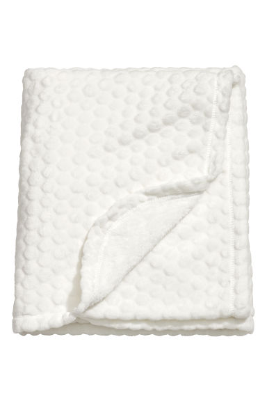 Textured Fleece Blanket - Natural white - Home All | H&M US