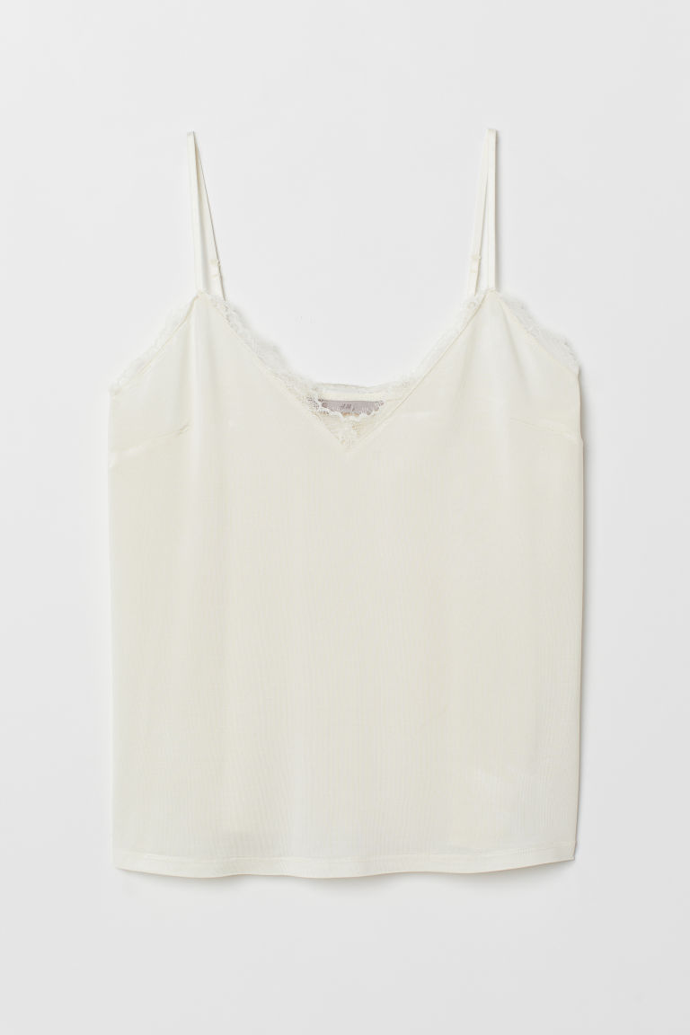 Jersey strappy top with lace - Natural white - Ladies | H&M