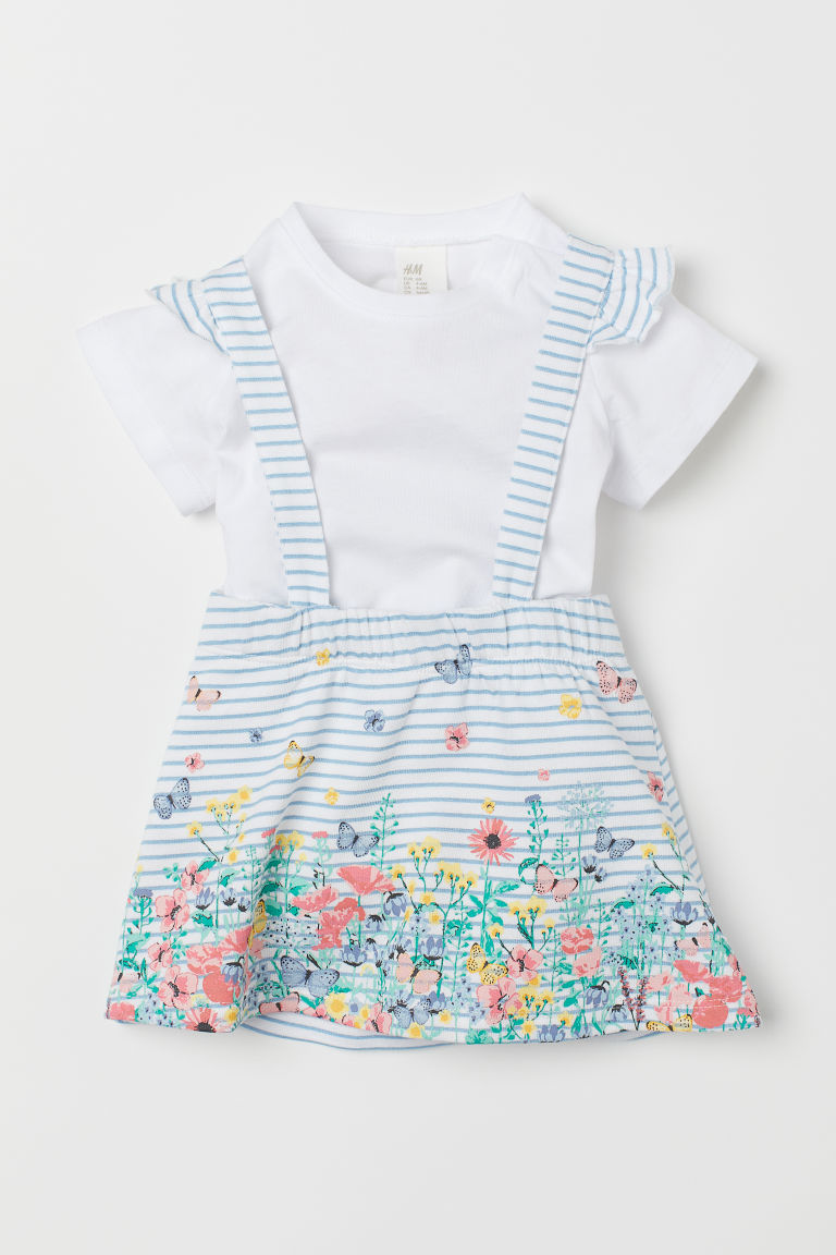 Skirt with straps and a top - White/Blue striped - Kids | H&M