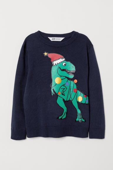 Fine-knit jumper - Dark blue/Dinosaur - Kids | H&M CN