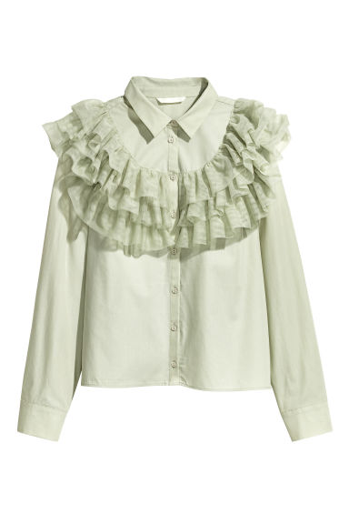 Flounced cotton blouse - Light dusky green -  | H&M