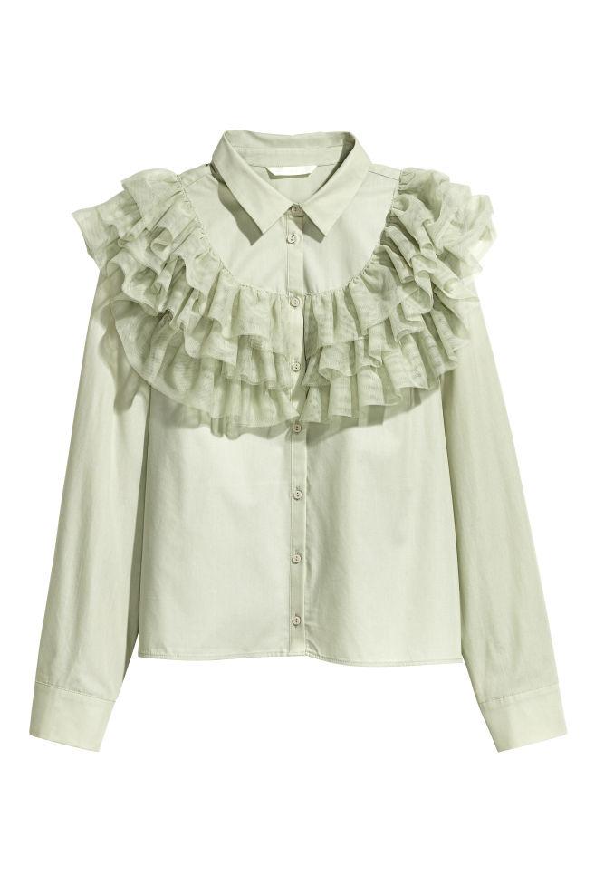 e692373193a17f Flounced Cotton Blouse - Light dusky green - Ladies