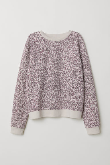 Printed sweatshirt - Light beige/Leaf-patterned - Ladies | H&M