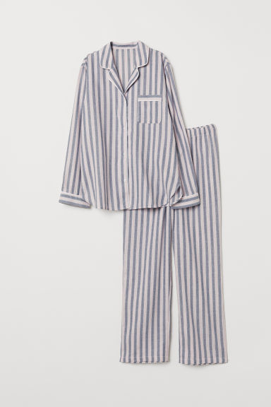 Pyjama shirt and bottoms - Pink/Blue striped - Ladies | H&M