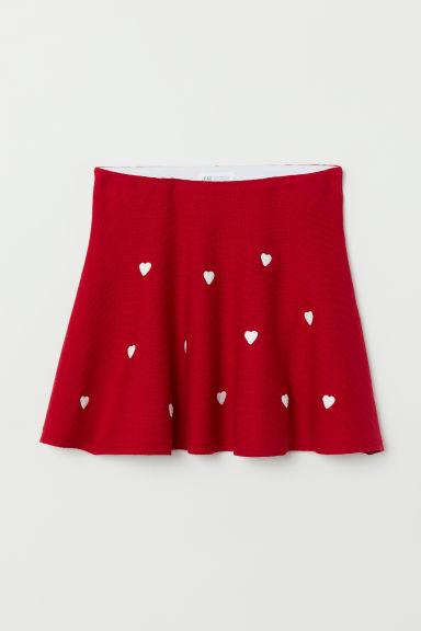 Fine-knit skirt - Red/Hearts - Kids | H&M