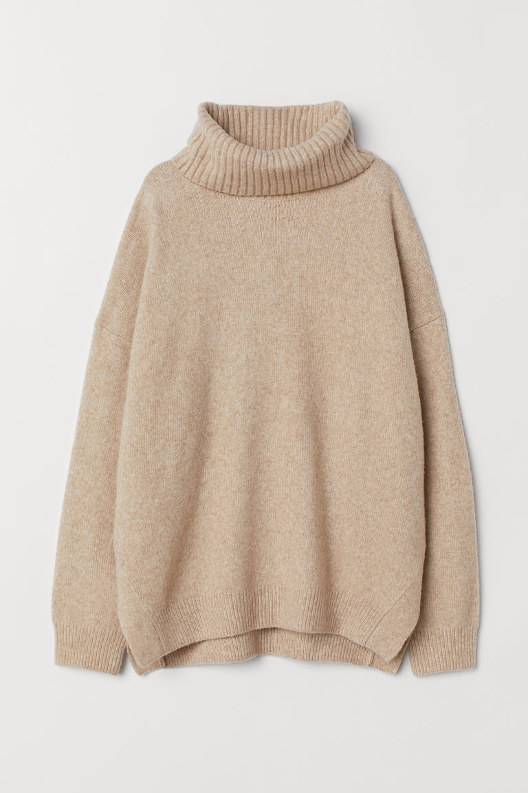 Knitted cowl-neck jumper - Light beige marl - Ladies | H&M
