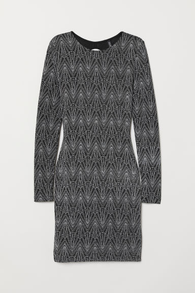 Glittery dress - Black/Silver-coloured -  | H&M