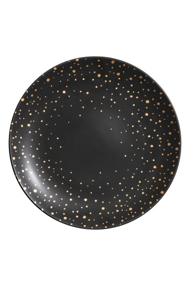 Porcelain plate - Black/Gold-coloured spots - Ladies | H&M GB