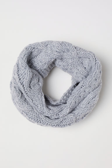 Cable-knit tube scarf - Light grey marl - Kids | H&M
