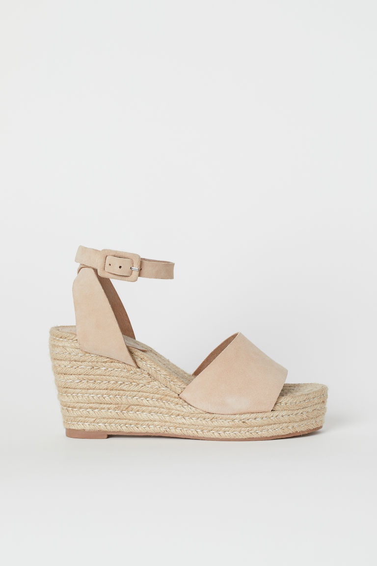 Satin Platform Sandals - Beige - Ladies | H&M CA