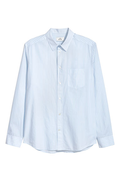 Poplin shirt - Light blue/Striped - Men | H&M