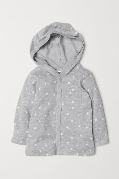 Jersey hooded cardigan - Light grey marl/Stars - Kids | H&M CN