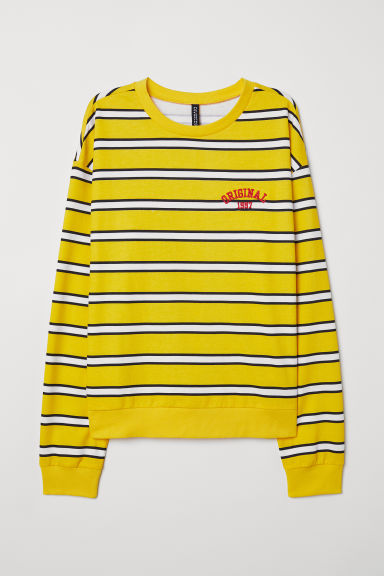 Printed sweatshirt - Yellow/Striped -  | H&M