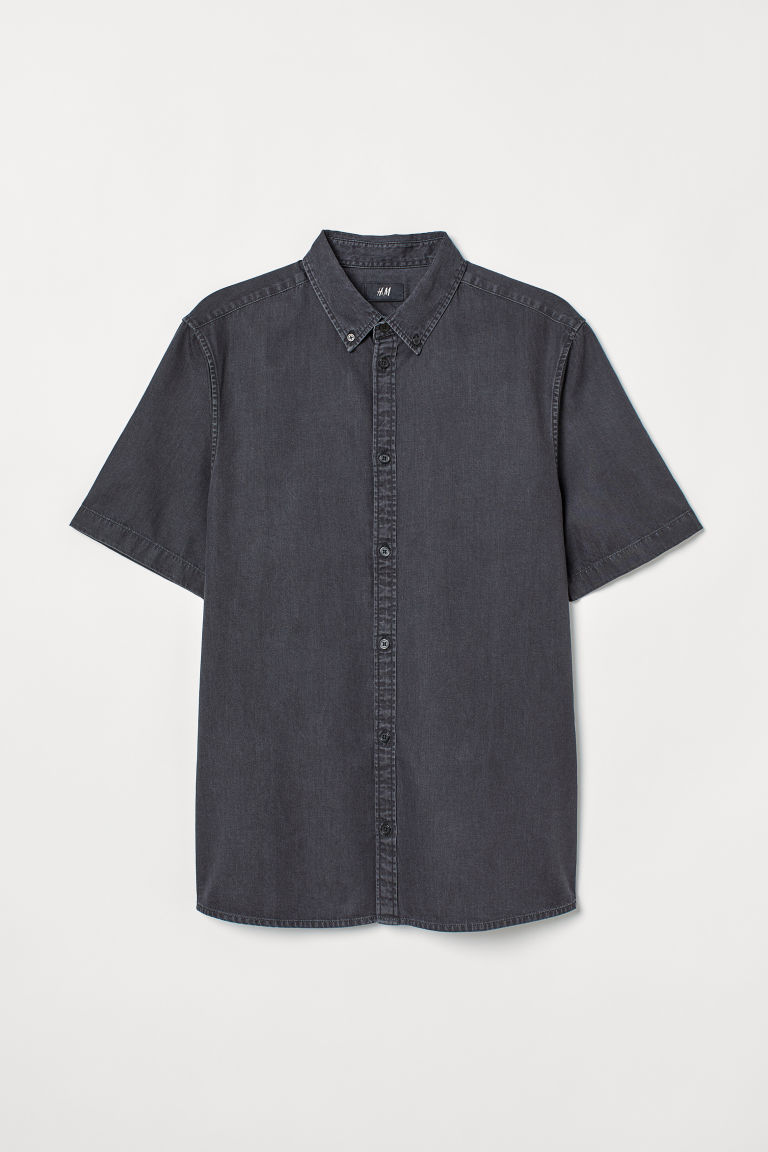 Short-sleeved denim shirt - Black - Men | H&M CN
