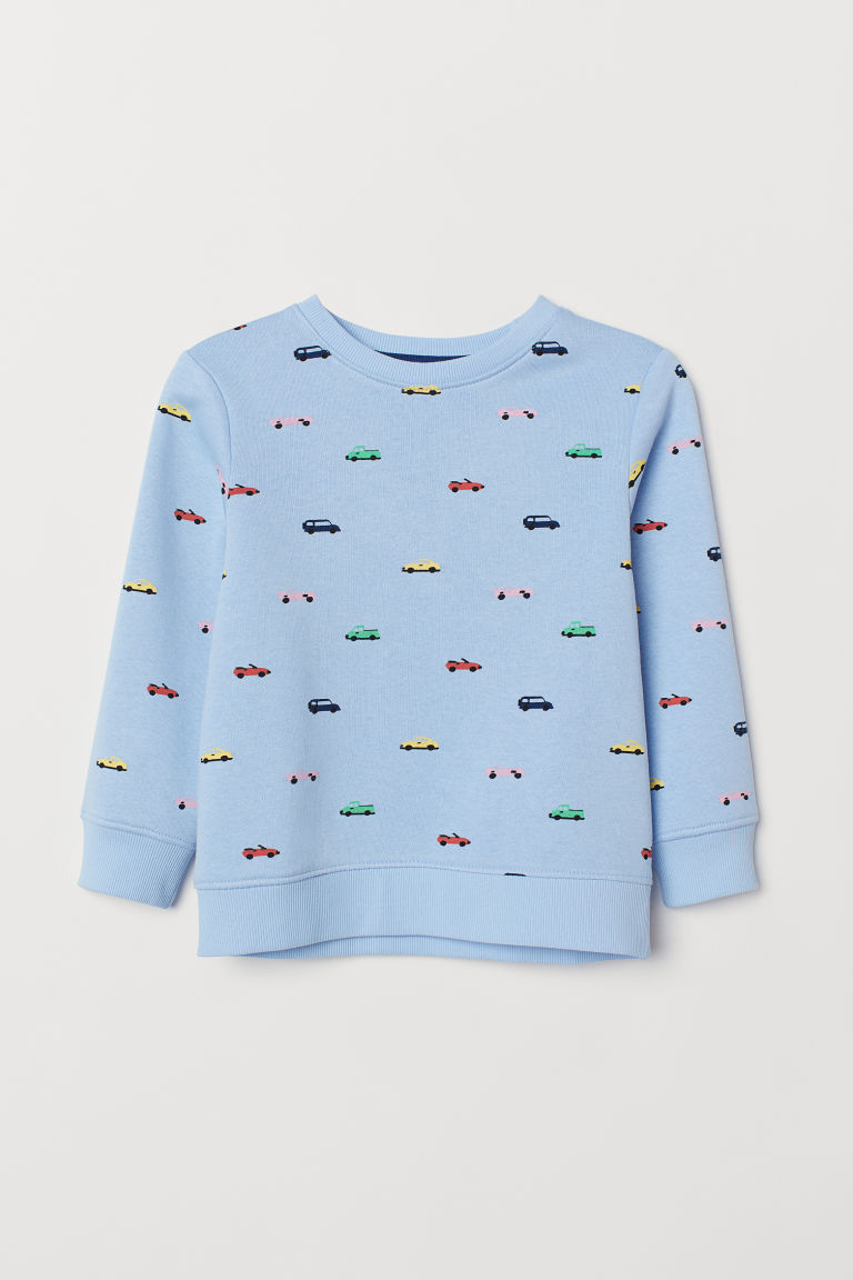Printed sweatshirt - Light blue/Cars - Kids | H&M