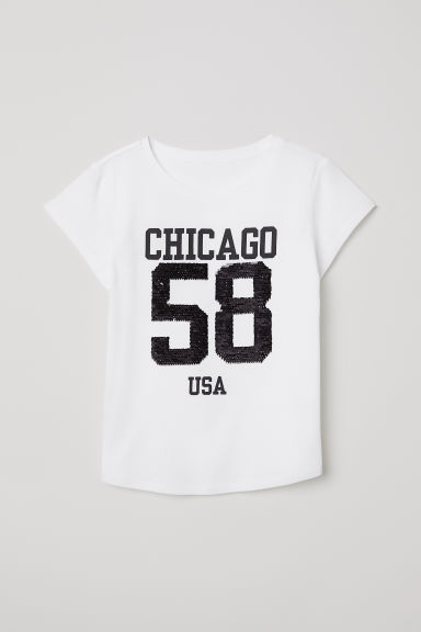 Top with reversible sequins - White/Chicago - Kids | H&M CN