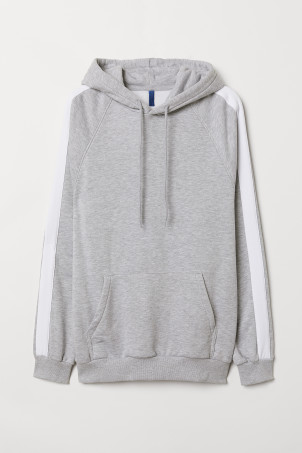 Hooded top with sleeve stripesModel
