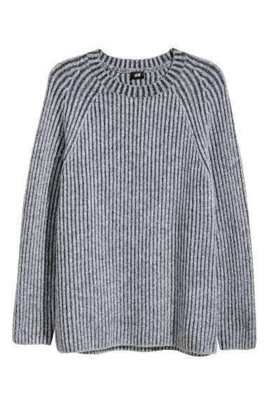 Ribbed jumper - Grey marl -  | H&M IE