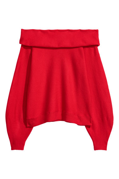 Off-the-shoulder jumper - Bright red - Ladies | H&M