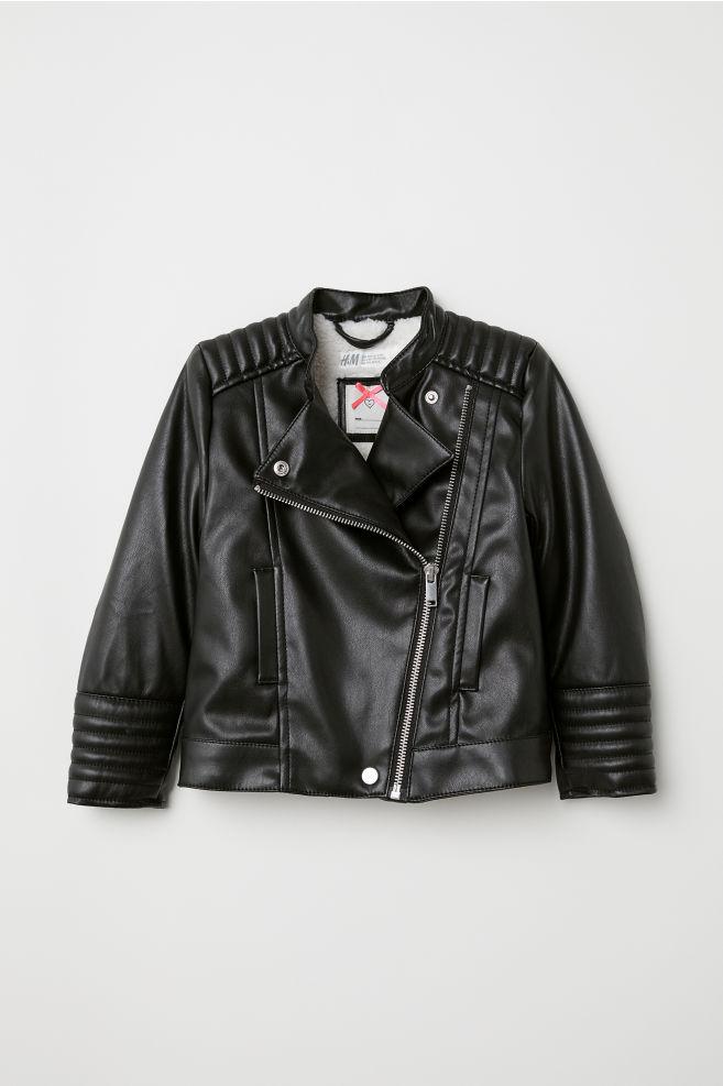 ef2de9a5e Pile-lined Biker Jacket - Black - Kids